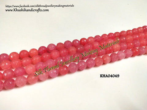 Natural Faceted Round Pink Agates - 10 mm - Gemstone Beads - KHA04049