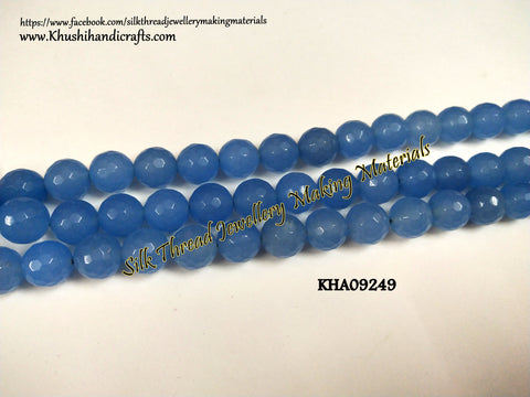 Natural Faceted Round Shaded Blue Agates - 10 mm - Gemstone Beads - KHA09249
