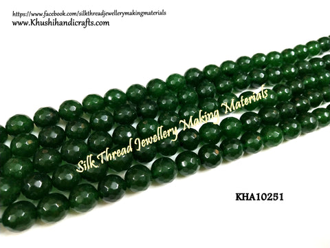 Natural Faceted Round Green Agates - 10 mm - Gemstone Beads - KHA10251