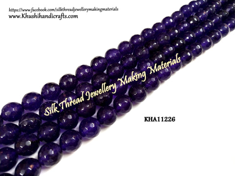 Natural Faceted Round Purple Agates - 10 mm - Gemstone Beads - KHA11226
