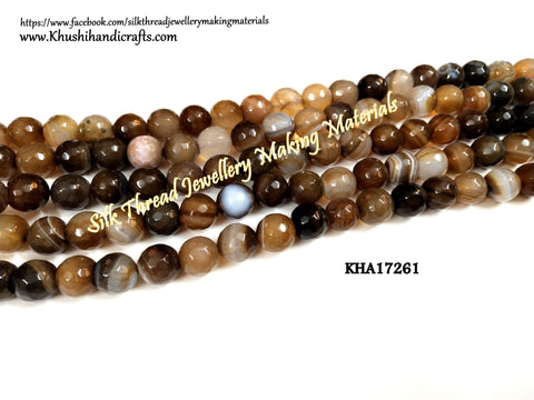 Natural Faceted Round Agates - 10mm - Gemstone Beads - KHA17261