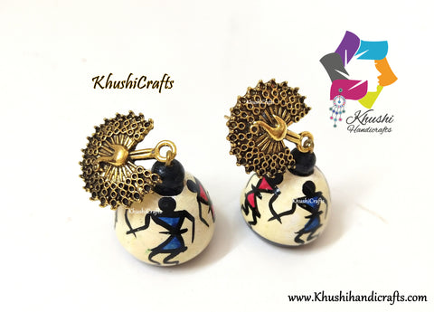 Warli Art Wooden jhumkas with Peacock Studs