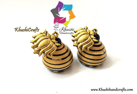 Gold shade Wooden jhumkas with Lotus Studs