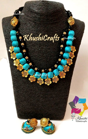 Peacock shade Silk Thread Necklace Jewellery set with Flower spacer beads and agate semiprecious stones