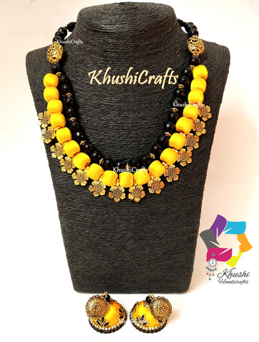 Yellow Silk Thread Necklace Jewellery set with Flower spacer beads and agate semiprecious stones