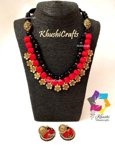 Red Silk Thread Necklace Jewellery set with Flower spacer beads and agate semiprecious stones