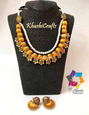 Gold shade Silk Thread Necklace Jewellery set with Flower spacer beads