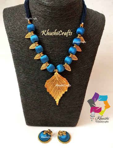Peacock shade silk thread Necklace set with Leaf Pendant