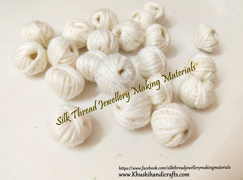 Off White Cotton Thread Bead /Beads