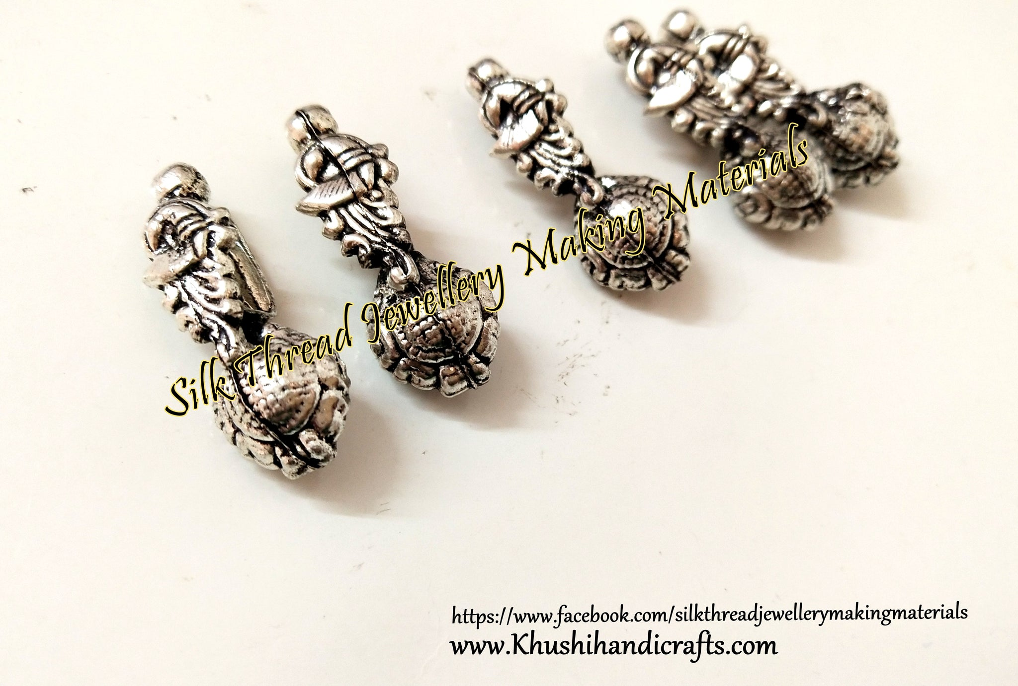 Kolhapuri Beads Antique Silver Peacock Pattern 32.Sold Per piece!