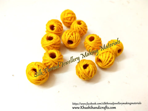 Yellow Cotton Thread Bead /Beads