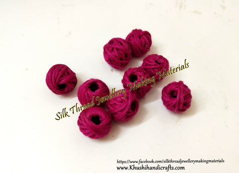 Dark Pink Cotton Thread Bead /Beads