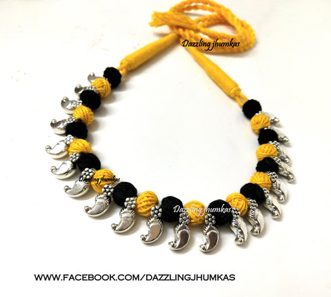 Oxidised silver Jewellery | Kolhapuri necklace in Black and Yellow