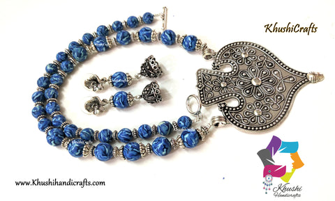 Blue designer Polymer clay and Metal spacer beads necklace with an oxidised pendant