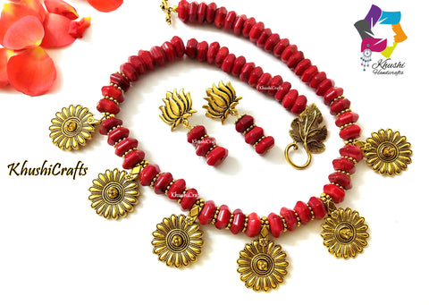 Red Coral Flower Necklace
