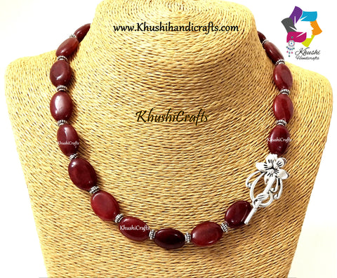 Maroon Agate Necklace with German silver Spacers and a Flower Toggle clasp!