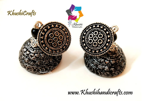 Clay Jhumkas with a Silver mettalic look!