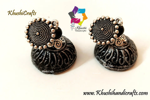Handmade Clay Jhumkas with a Silver mettalic look!