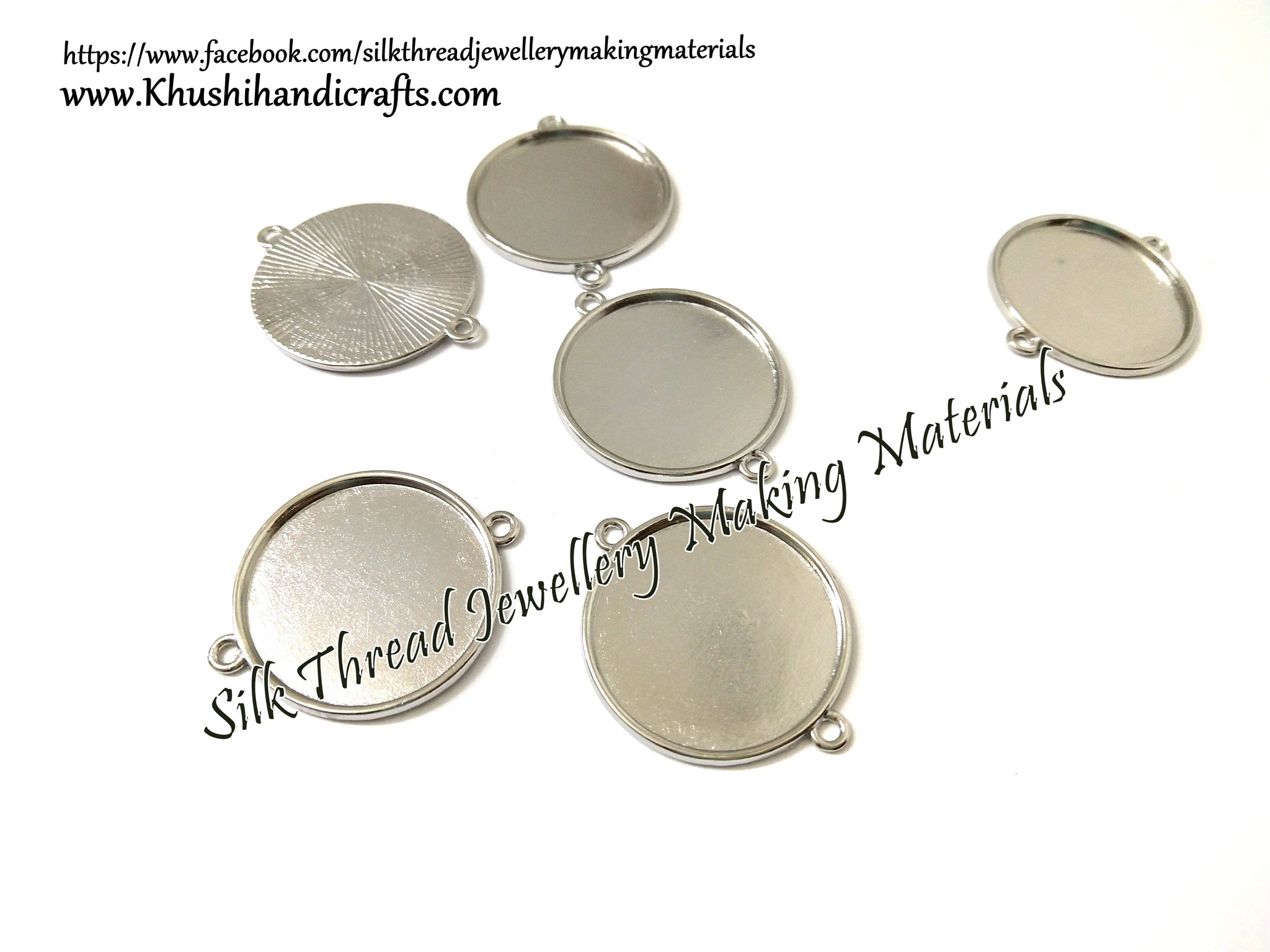 25mm Blank Cabochon Base Connector Pendant Bezel Trays