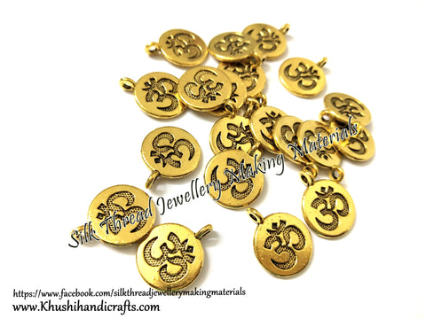 Om Symbol Charms in Antique Gold for Necklace pendants, Bracelet Jewellery Making .Sold per piece!