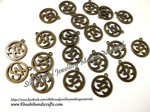 Om Symbol Charms in Antique Bronze for Necklace pendants, Bracelet Jewellery Making .Sold per piece!