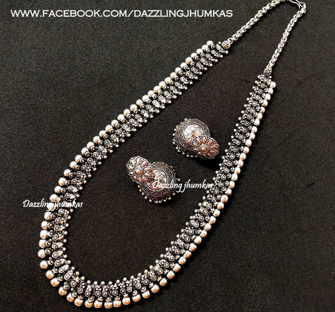 Oxidised German Silver Long haaram Necklace with Earrings!