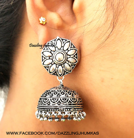 Oxidised Flower Jhumkas