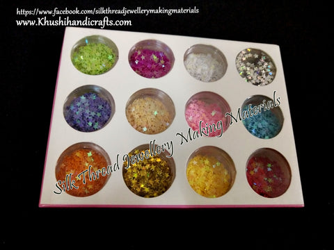 12 boxes Glittering Shiny Star Sequins Mold Fillers For Resin Jewellery Crafts and Nail Art