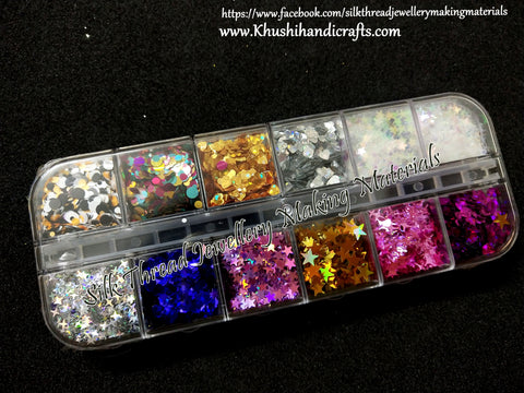 12 Sets Mixed Glitter Heart Star designs For Resin Crafts ,Jewelry Mold Filling and Nail art.Set1!