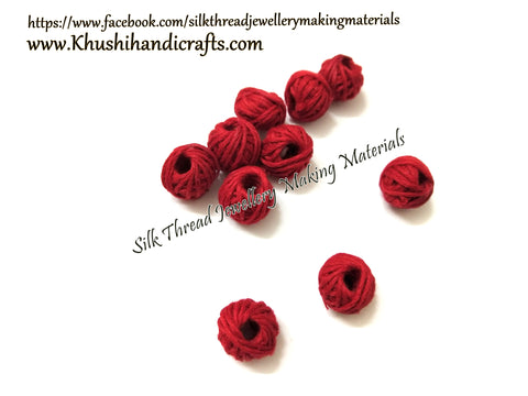 Red Cotton Thread Bead /Beads
