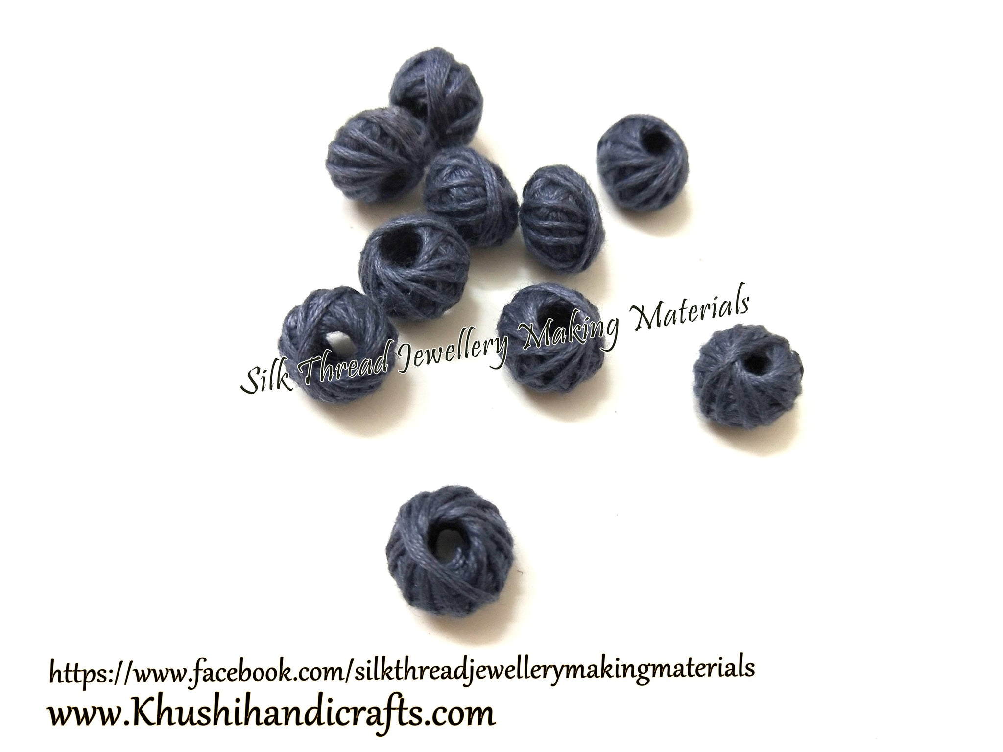 Grey cotton thread beads