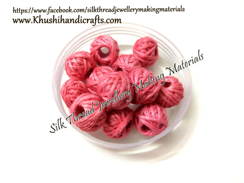 Peach Cotton Thread Bead /Beads