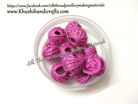 Pink Cotton Thread Bead /Beads