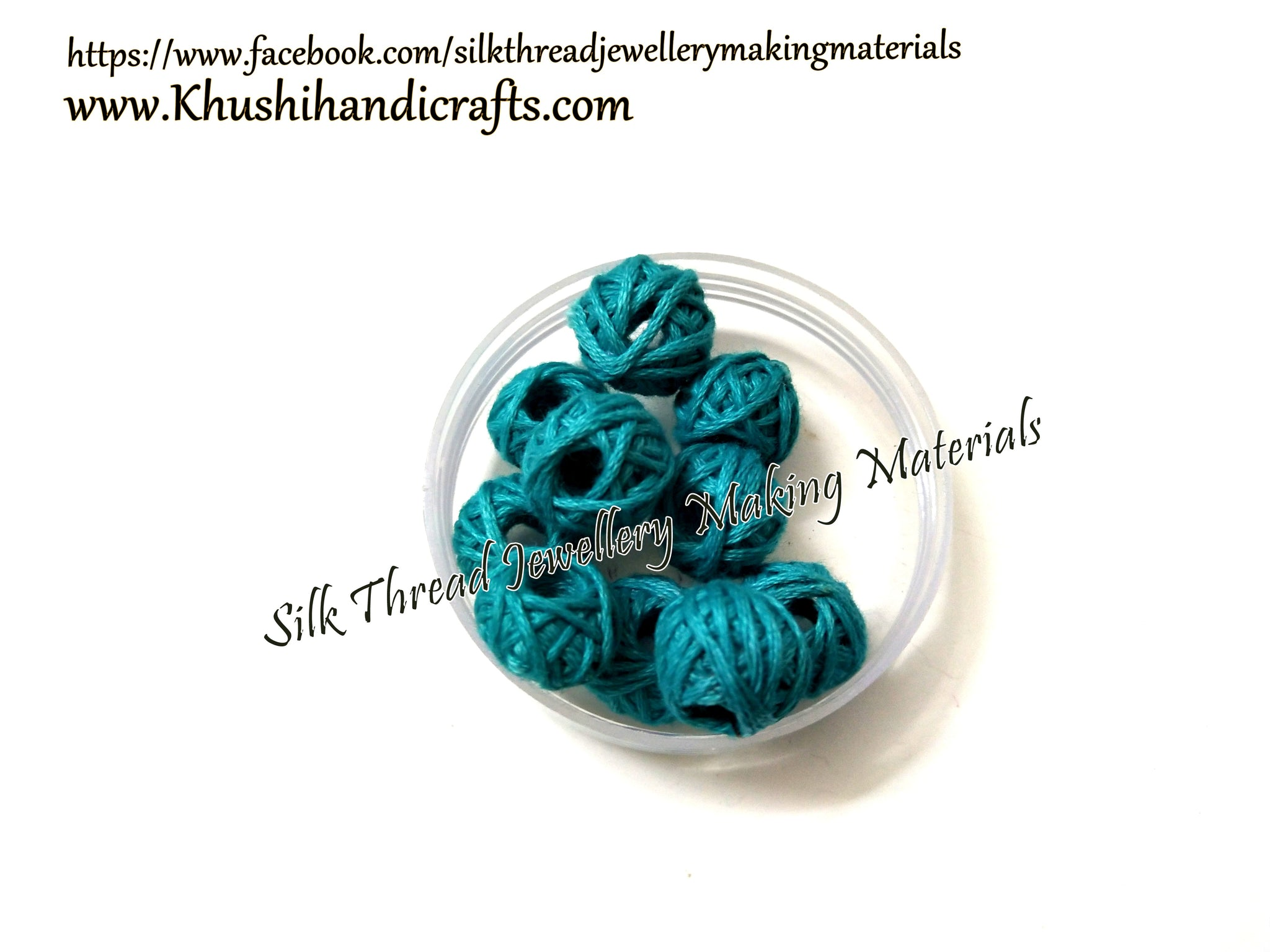 Blue Cotton thread beads