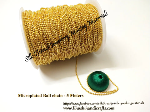 Microplated Gold Ball Chain for Jewellery making (Pack of 5 meters)