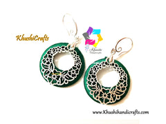 Blue Green Chandbali Silk thread earrings with filigree metal dangler!