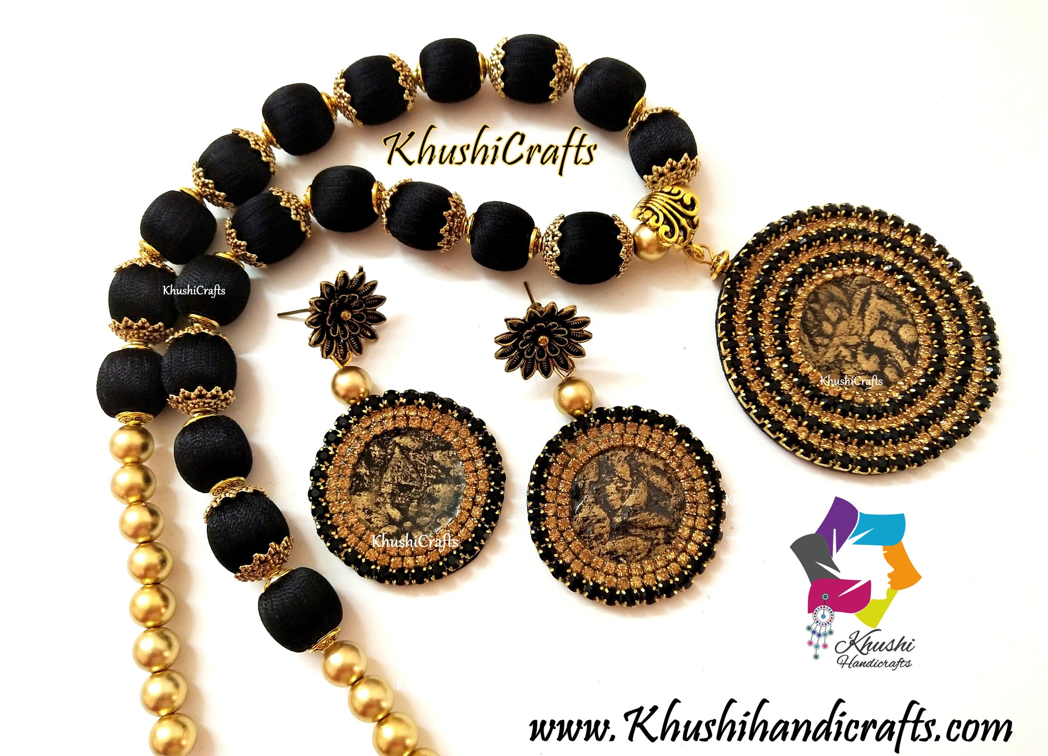 Black Silk Thread Jewellery Necklace Resin Set
