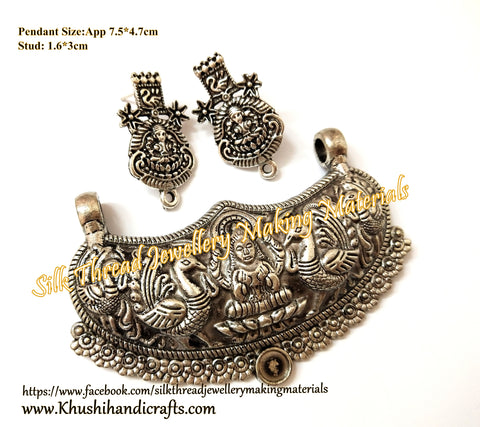 Antique Silver Designer Lakshmi Pendant Stud Combo for Jewellery Making Pattern 24