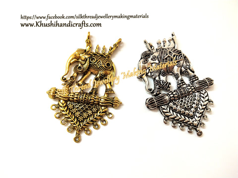 Antique Gold Silver Bahubali Elephant Pendant P051