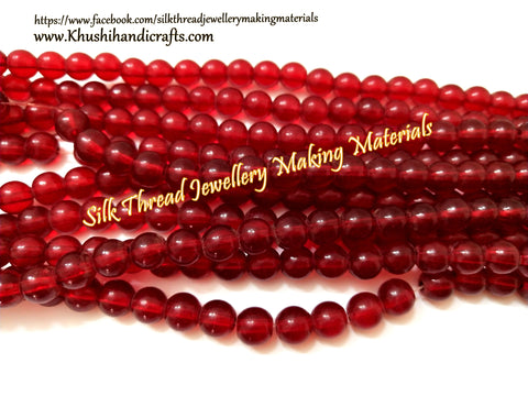 Glass beads 8 mm  in Red