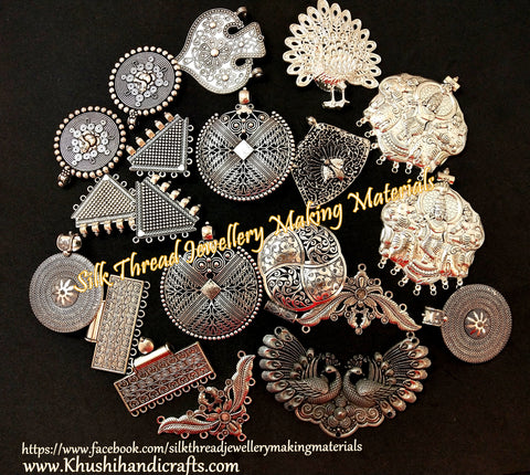 Assorted Antique Silver Pendants for Jewellery Making - 500 grams