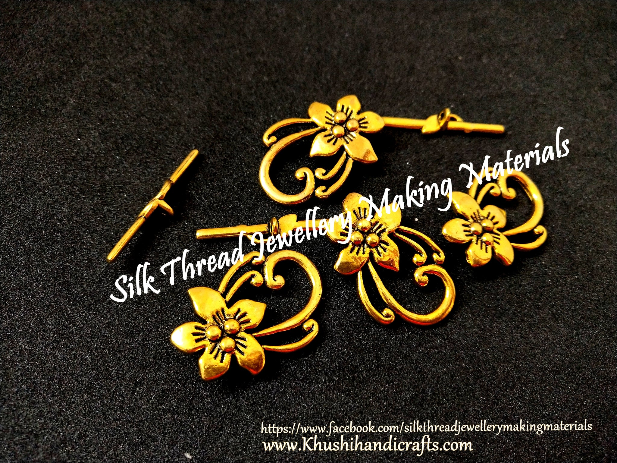 Antique Gold Flower Toggle Clasps