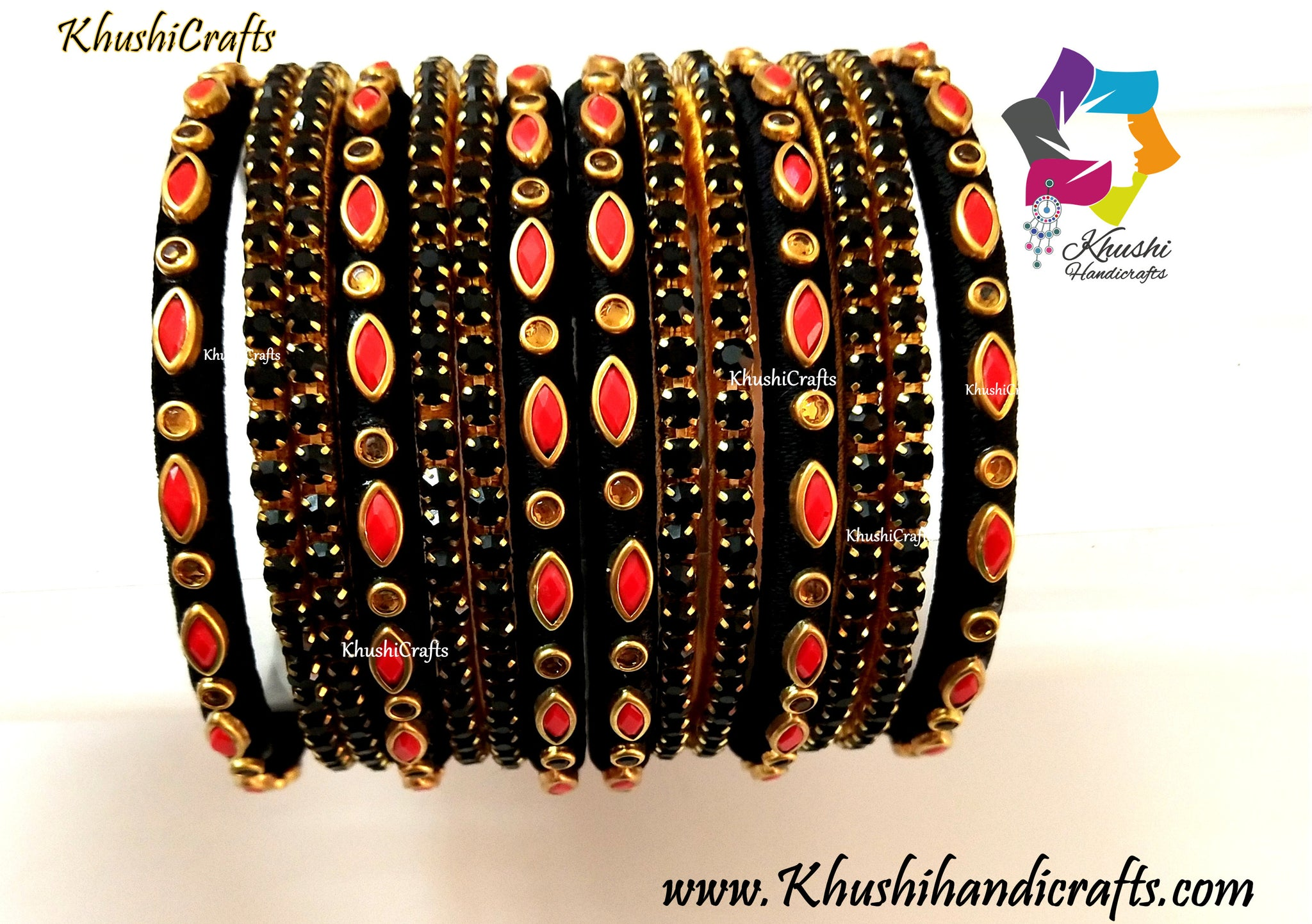 Black Silk thread Kundan Bangles