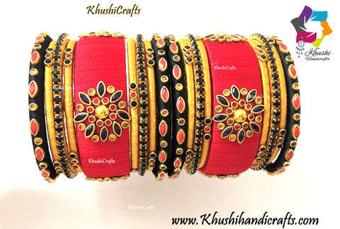Red Black and Gold Silk thread Bangles with Kundan work!