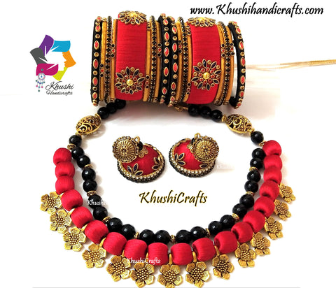 Red Silk Thread Necklace Jewellery set with Flower spacer beads ,agate semiprecious stones with matching jhumkas and bangles
