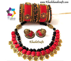 Red kundan silk thread necklace jewellery set jhumkas bangles