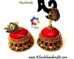 Red Blue Silk thread Kundan Double Jhumkas with Peacock stud