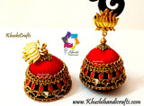 Red Blue Silk thread Kundan Double Jhumkas with Lotus stud