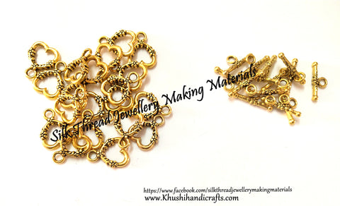 Heart Toggle Clasps in Antique Gold - T20