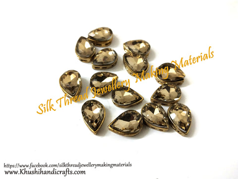 Gold shade Kundan stones /Kundans - Tilak Shaped for Embroidery and Traditional Jewellery